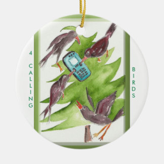 12 Days of Christmas 4 Calling Birds Christmas Ornament