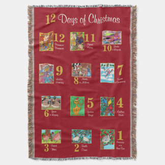 12 Days of Christmas Cute Animals & Typography Throw Blanket