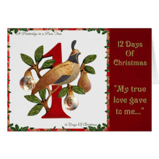 12 Days of Christmas Partridge in a Pear Tree Greeting Card