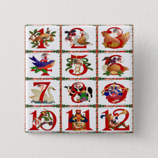 12 Days Of Christmas Quilt Print Gifts 15 Cm Square Badge