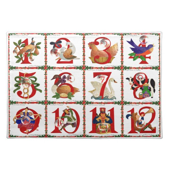 12 Days Of Christmas Quilt Print Gifts Placemat