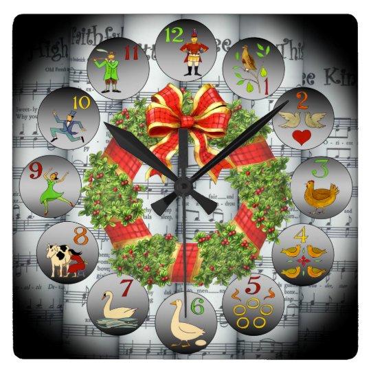 12 Days Of Christmas ~Sheet Music~Christmas Wreath Square