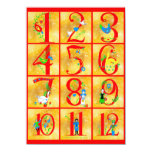 12 Days of Christmas Song Folk Art Numbers 11 Cm X 16 Cm Invitation Card