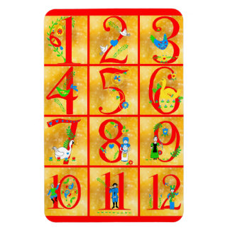 12 Days of Christmas Song Folk Art Numbers Magnet