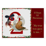 12 Days of Christmas Two Turtle Doves Greeting Card