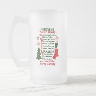 12 Days of Roller Derby Christmas, Roller Skating Frosted Glass Beer Mug