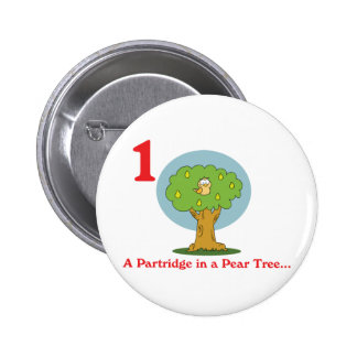 12 days partridge in a pear tree 6 cm round badge