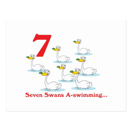 12 days seven swans a-swimming postcard