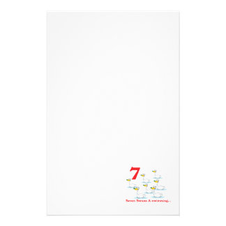 12 days seven swans a-swimming stationery design