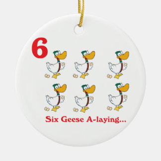 12 days six geese a-laying round ceramic decoration