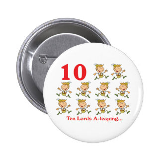 12 days ten lords a-leaping 6 cm round badge