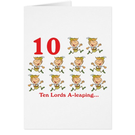 12 days ten lords a-leaping greeting card