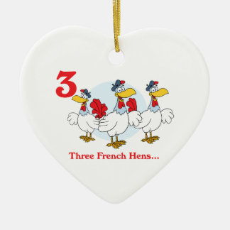 12 days three french hens christmas ornament