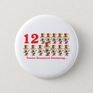 12 days twelve drummers drumming 6 cm round badge