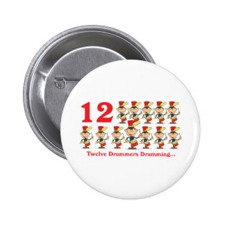 12 days twelve drummers drumming 6 cm round badge