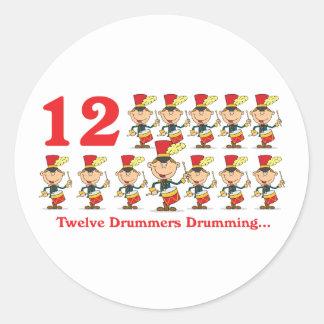 12 days twelve drummers drumming round sticker