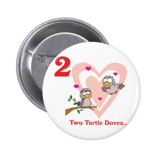 12 days two turtle doves 6 cm round badge