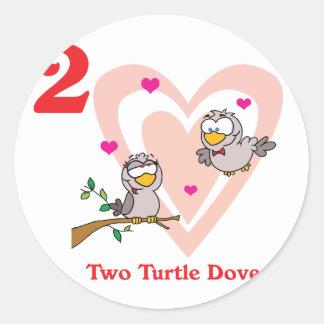 12 days two turtle doves round sticker
