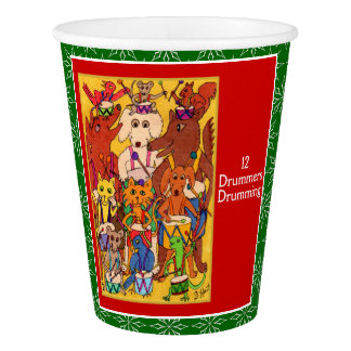 12 Drummers Drumming Cute Animals Paper Cup