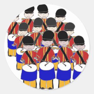 12 Drummers Drumming Round Sticker