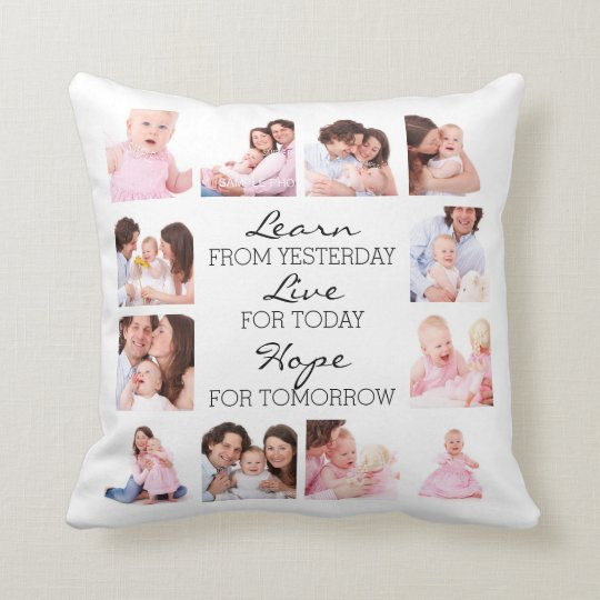 12 Family Photos and Inspirational Quote Cushion