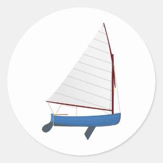 12 Foot Sailing Dinghy Round Sticker