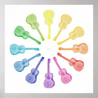 12 Guitars Colour Wheel Poster