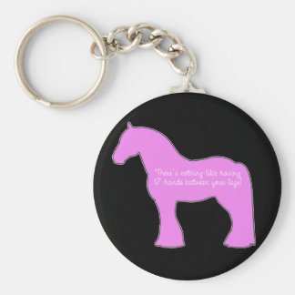 12 Hands Draft Horse Basic Round Button Key Ring