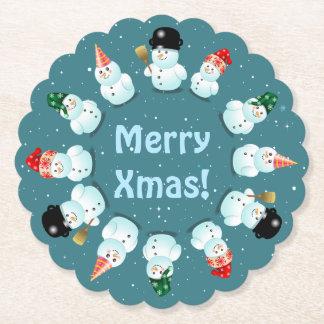 12 Happy Snowmen Paper Coaster