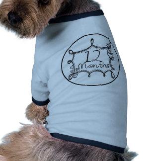 12 Months Doodle Milestone Ringer Dog Shirt