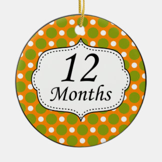 12 Months Polka Dot Milestone Christmas Ornaments