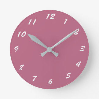 12 Number Choices to Choose From Mauve Pink Clock