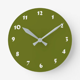 12 Number Choices to Choose From Olive Green Clock