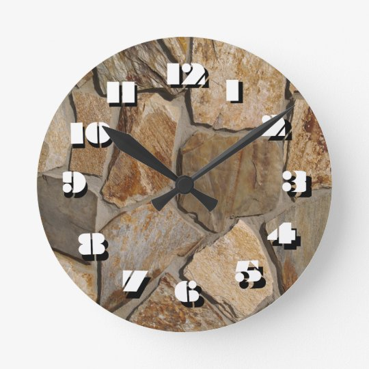 12 Number Choices to Choose-Rusty Stones-Clock Round Clock