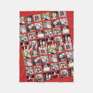 12 Photo Collage CAN EDIT background color Fleece Blanket