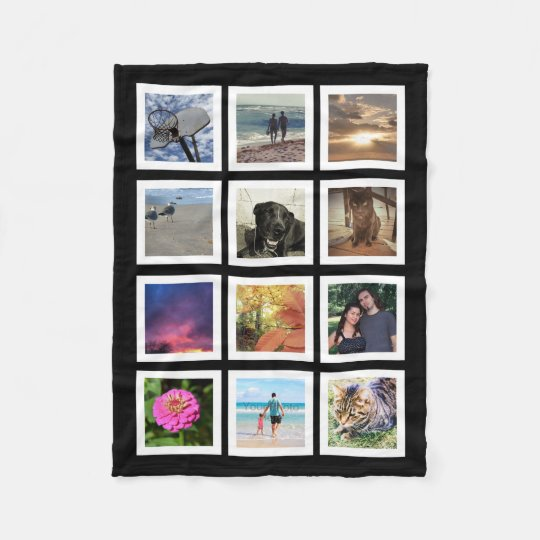 12 Photo Collage Instagram Square Frame Keepsake Fleece