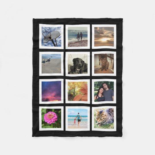12 Photo Collage Instagram Square Frame Keepsake Fleece Blanket