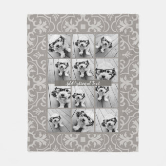 12 Photo Collage - Rustic Farmhouse Tile Pattern Fleece Blanket