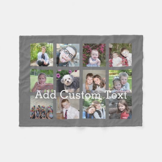 12 Photo Collage with Charcoal Grey Background Fleece