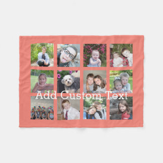 12 Photo Collage with Coral Background Fleece Blanket