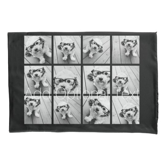 12 Photo Collage with Custom Background Pillowcase