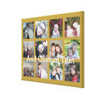 12 Photo Collage with Gold Background Canvas Print