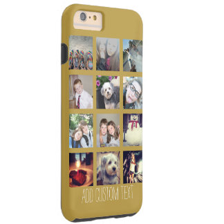 12 Photo Collage with Gold Background iPhone 6 Plus Case