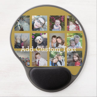 12 Photo Collage with Gold Background Gel Mousepad