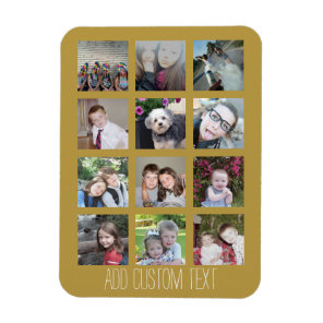 12 Photo Collage with Gold Background Magnet