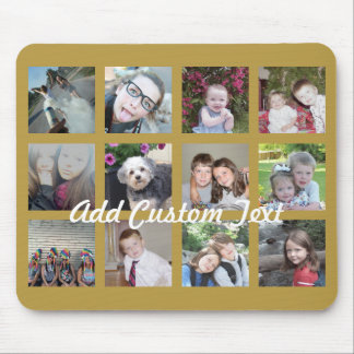 12 Photo Collage with Gold Background Mouse Pad