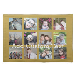 12 Photo Collage with Gold Background Placemat