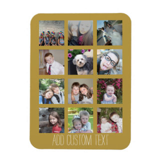 12 Photo Collage with Gold Background Rectangular Photo Magnet