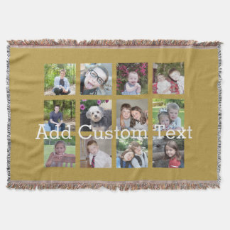 12 Photo Collage with Gold Background Throw Blanket