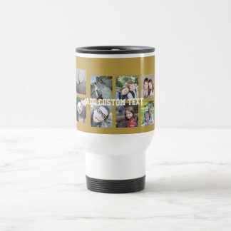 12 Photo Collage with Gold Background Travel Mug